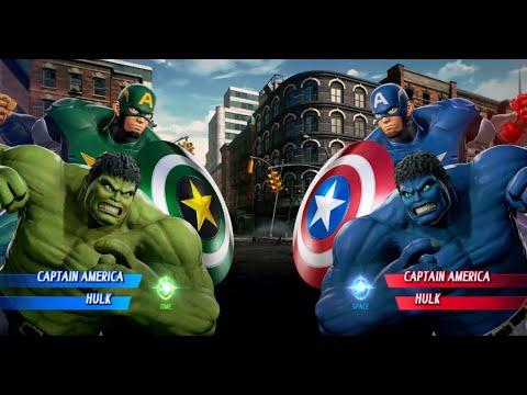 MARVEL VS. CAPCOM: INFINITE Captain America And Blue Hulk Vs Green Captain America And Hulk