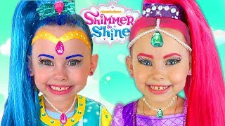 Shimmer and Shine Kids Makeup & DRESS UP Costumes PRINCESS Pretend Playing with Surprise Toys & Doll
