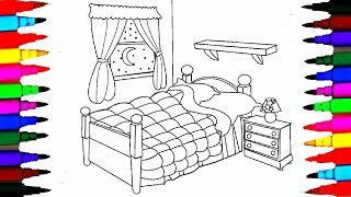 Coloring Pages Bedrooms l Bedsheet l Curtain Drawing Pages To Color For Kids l Learn Rainbow Color
