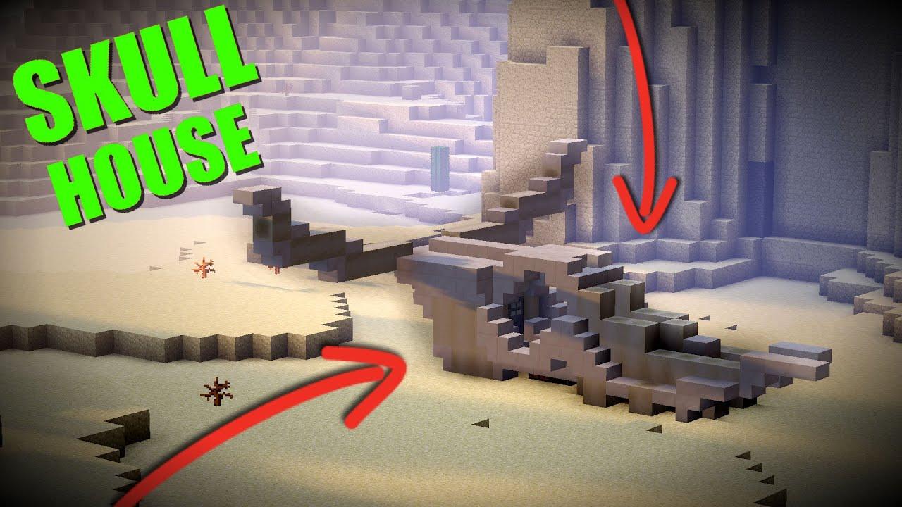 How To Make A Minecraft Skull House Desert Themed Base Youtube