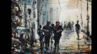 watercolor akvarel syria Aleppo timelapse