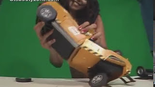 Latin giantess butt crushes a tow truck, then tears it apart!