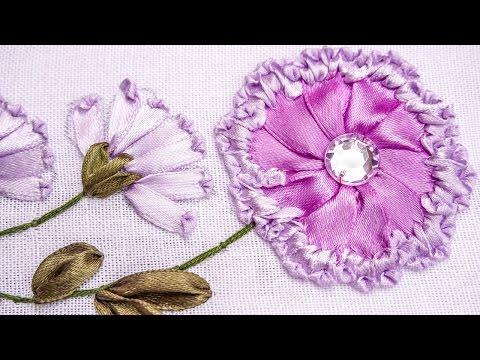 Embroidery   Ribbon Flower Design   Hand Stitching Tutorials   HandiWorks #78