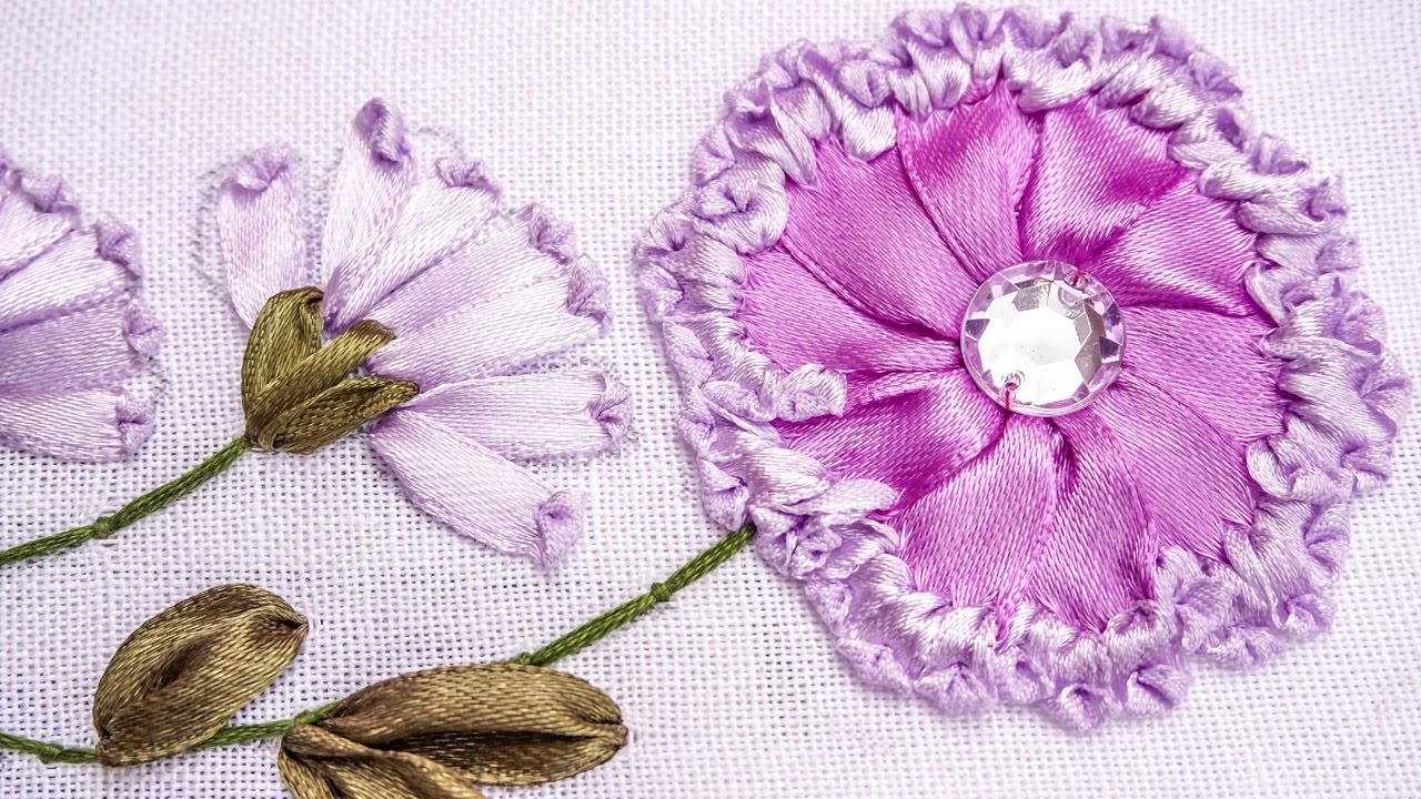 Embroidery ribbon flower design hand stitching