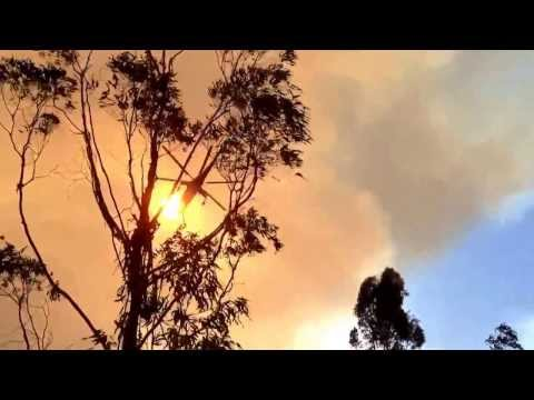 NSW Bushfires. Ericsson Aircrane at the Hall Rd fire which impacted Balmoral, Yanderra & Bargo