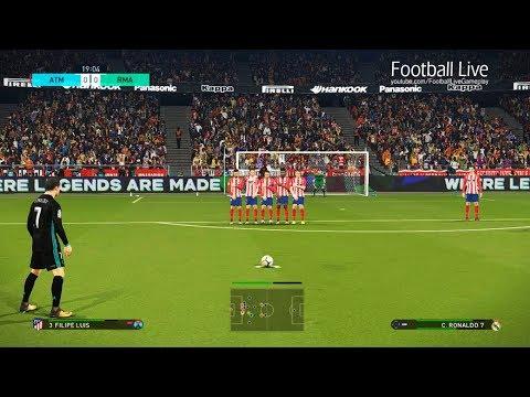 PES 2018   Atletico Madrid vs Real Madrid   Cristiano Ronaldo hattrick & Derby match   Gameplay PC
