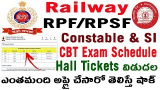 Railway RPF RPSF SI Constable CBT Exam Dates Schedule Group wise in telugu police si constable 2018