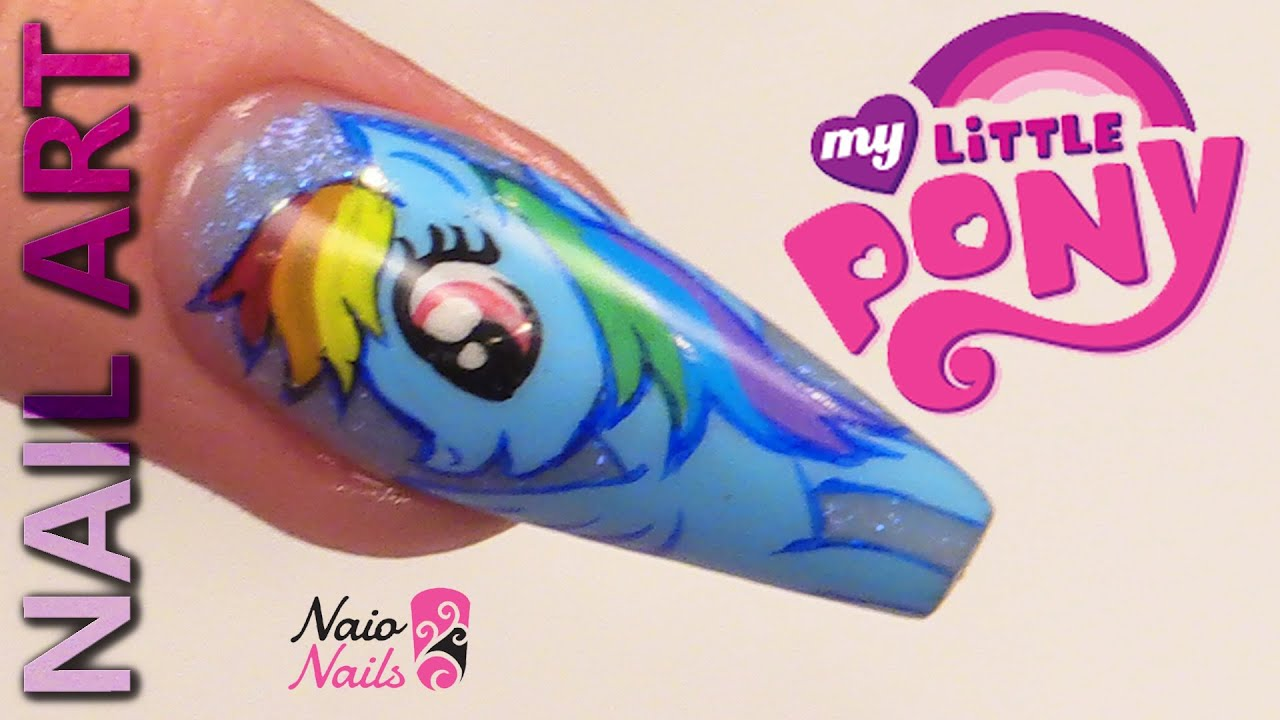 Nail Art - My Little Pony Design - Rainbow Dash - YouTube