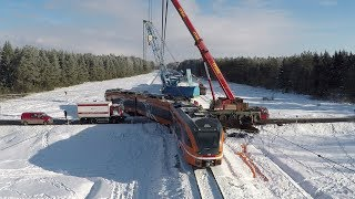 Таймлапс: Підйом Штадлера після аварії 1 / Time lapse: Lifting of Stadler train after an accident