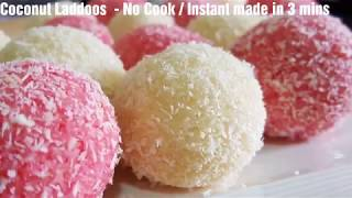 Coconut Laddoos - No Cook recipe - Instant made in 3 mins - Rose flavoured laddoos