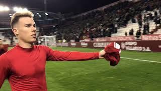 Así agradecen los jugadores el apoyo a su afición tras el empate en Albacete