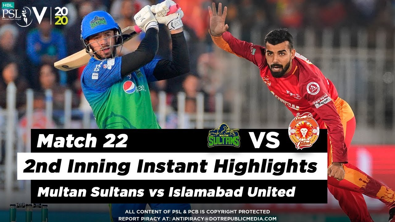Multan Sultans vs Islamabad United | 2nd Inning Highlights | Match 22 | 8 March | HBL PSL 2020