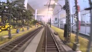 Locomotive cab ride on a big model railroad layout