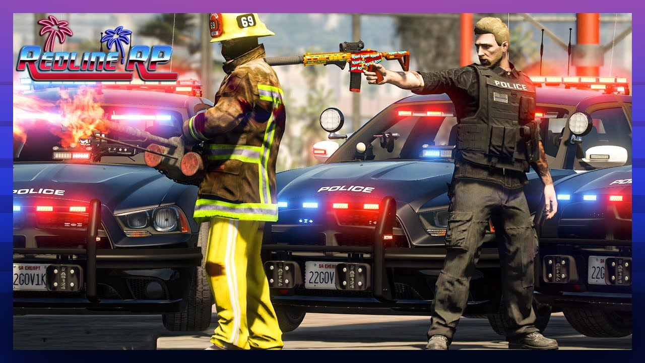 GTA 5 Roleplay - RedlineRP -  CORRUPT FIREMEN BURNING CIVS  # 336