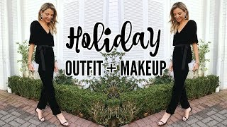 HOLIDAY OUTFIT + MAKEUP | Get Ready With Me!