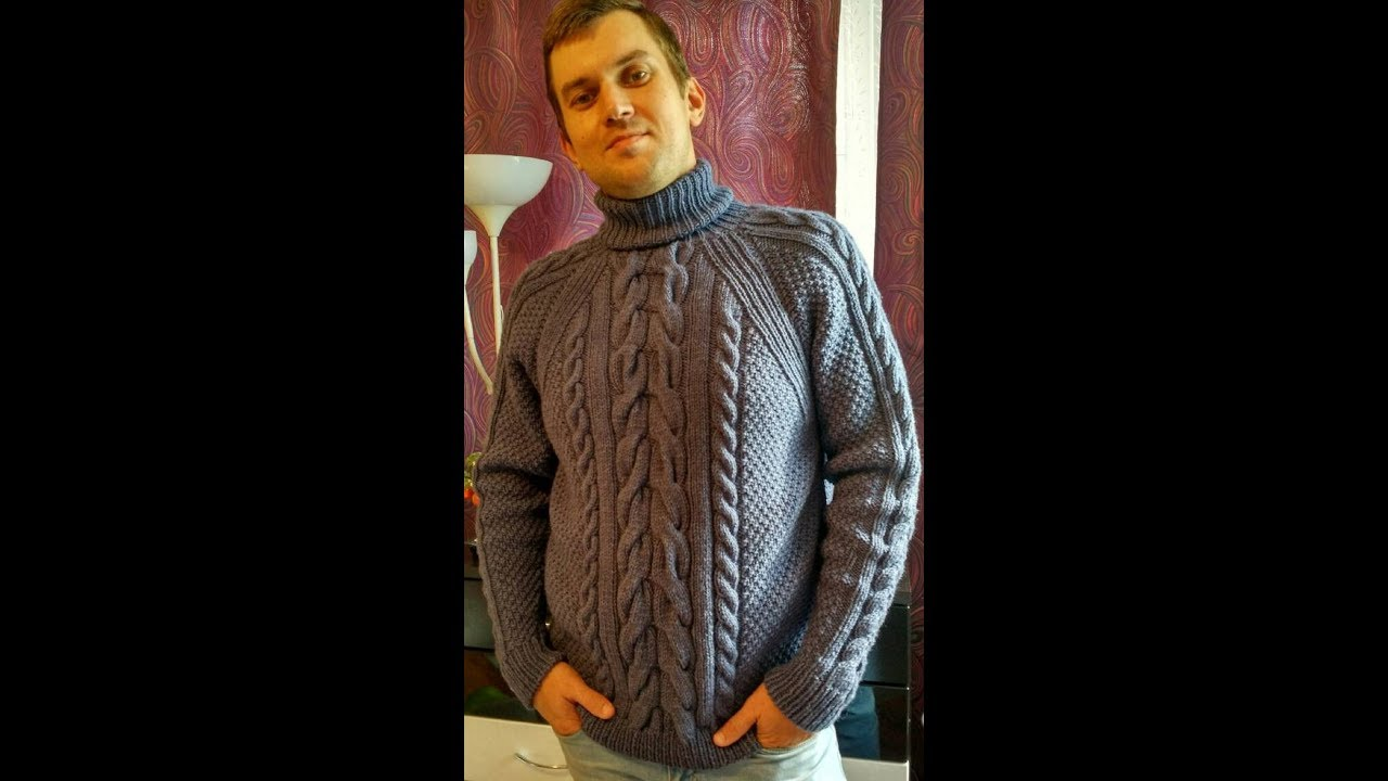 Вязаный свитер спицами для мужчины