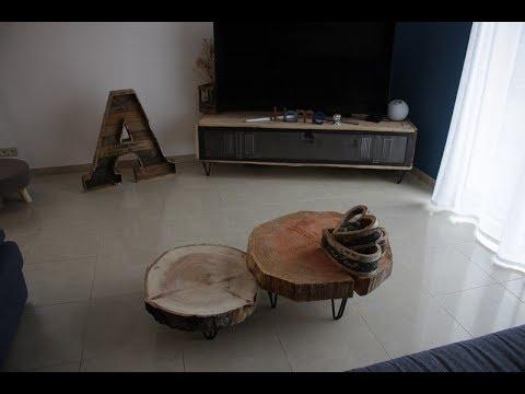 comment fabriquer une table basse rondin pour 50 sans les pieds by adopteunecaisse maker. Black Bedroom Furniture Sets. Home Design Ideas