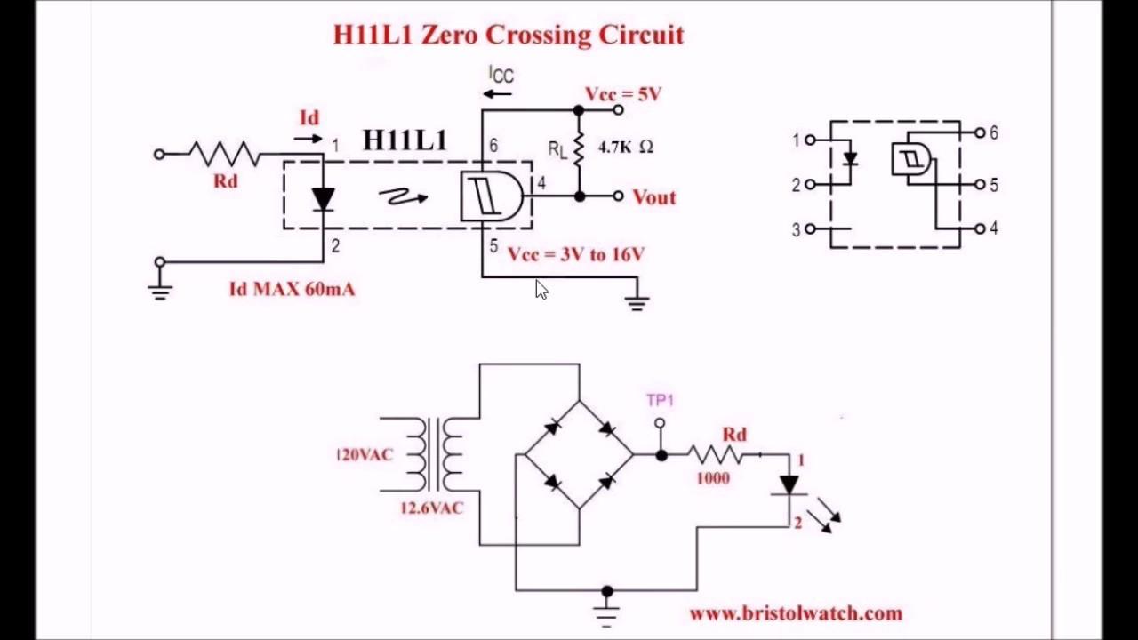 h11l1 optocoupler based zero crossing pulse detector [ 1280 x 720 Pixel ]