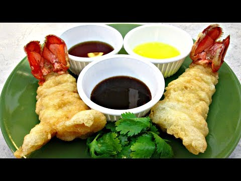 Fried Tempura Lobster Tails with Dipping Sauce - PoorMansGourmet