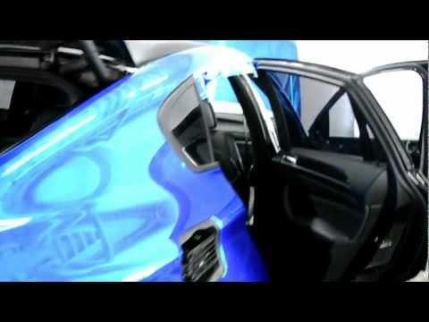 BMW X6 стайлинг синей зеркальной плёнкой Nippon Carbide