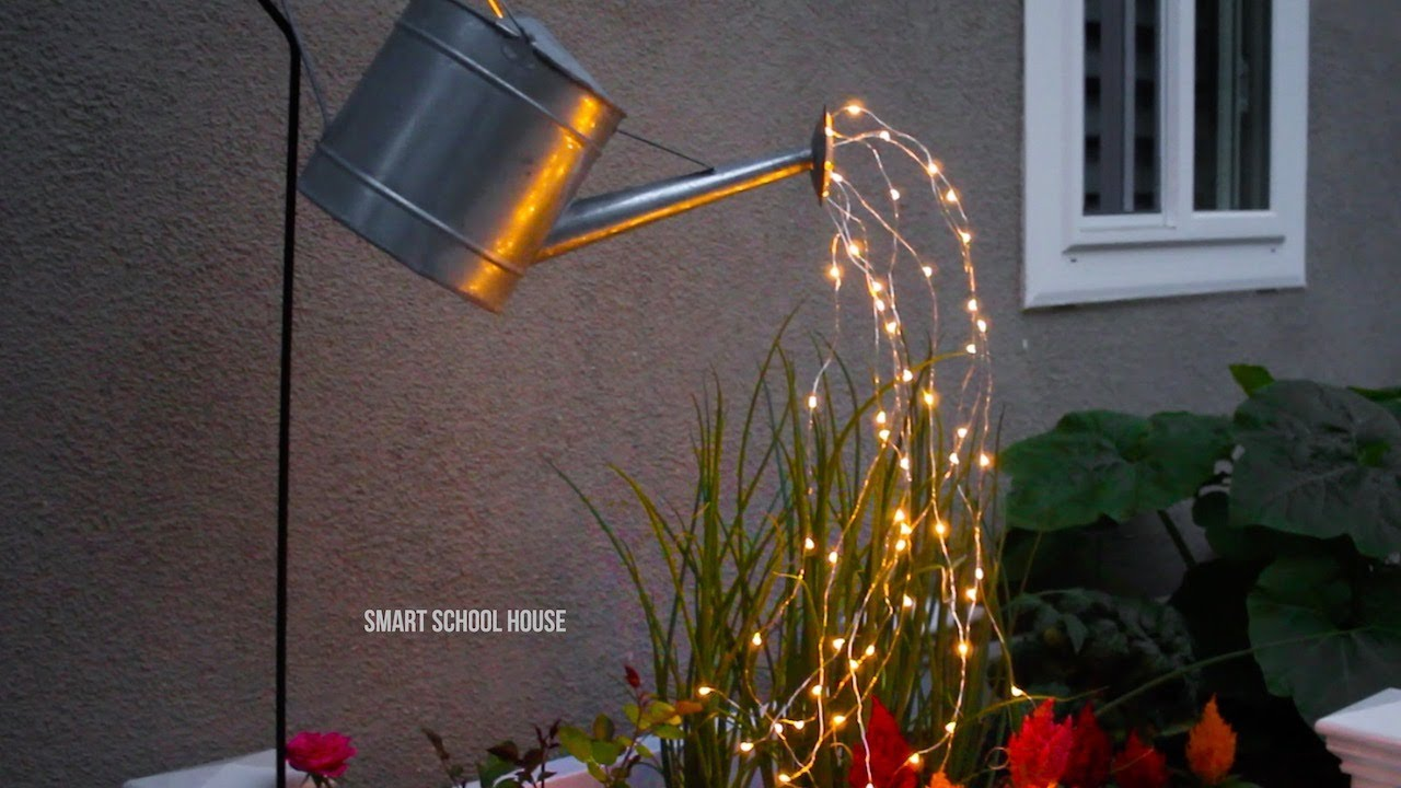 Glowing Watering Can Made With Fairy Lights Youtube