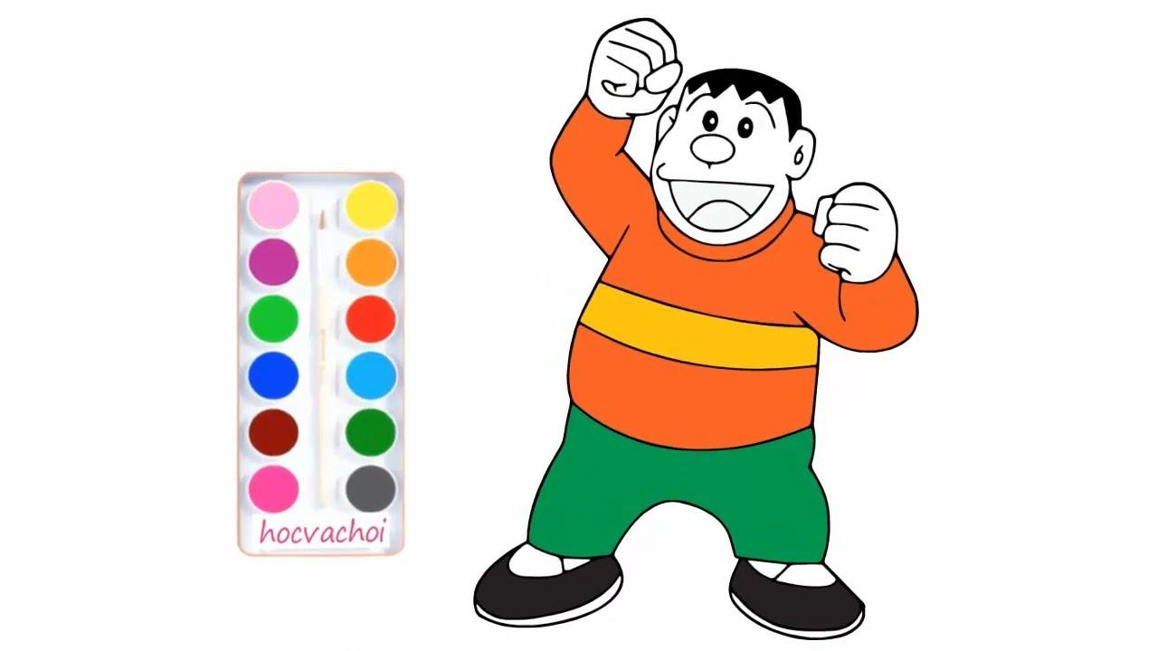 vẽ doremon nobita xuka chaien xekô / dạy bé vẽ và tô màu nhân vật hoạt hình