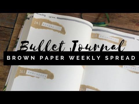Brown Paper Weekly Spread | Plan With Me | Quick + Easy  Bullet Journal