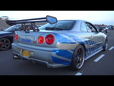 Nissan Skyline R34 GT-T - Burnout & Accelerations!