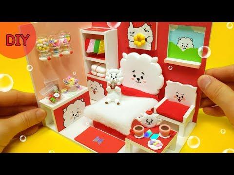 DIY Miniature Dollhouse   BTS & BT21 RJ Alpaca Room Decor!