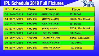 IPL T20 2019 Fixtures & Match Schedule &Time Table || STARTING DATE 29/3/2019