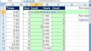 Excel Magic Trick 441: Count Times That Start With 7 (7:00, 7:15, etc.)