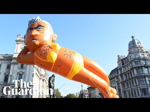 Inflatable Sadiq Khan likeness flies over London