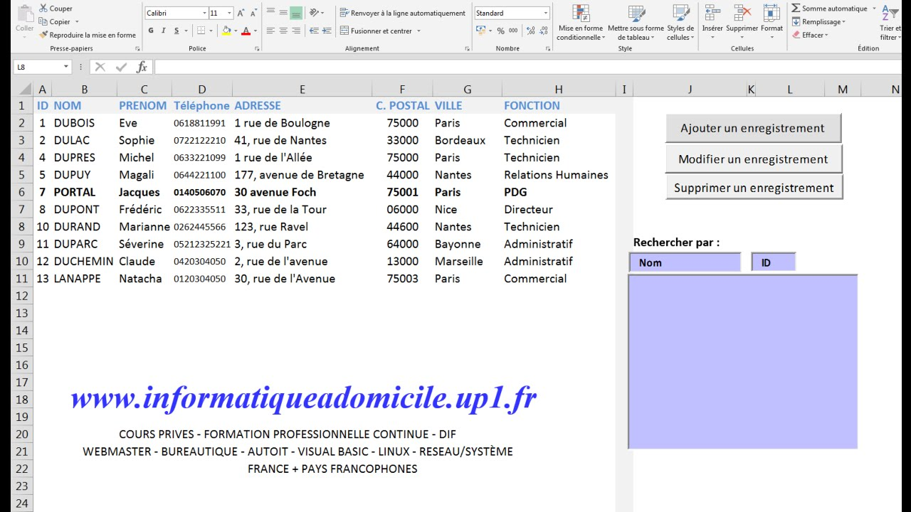 Excel Vba Gestion Base De Donnees Youtube