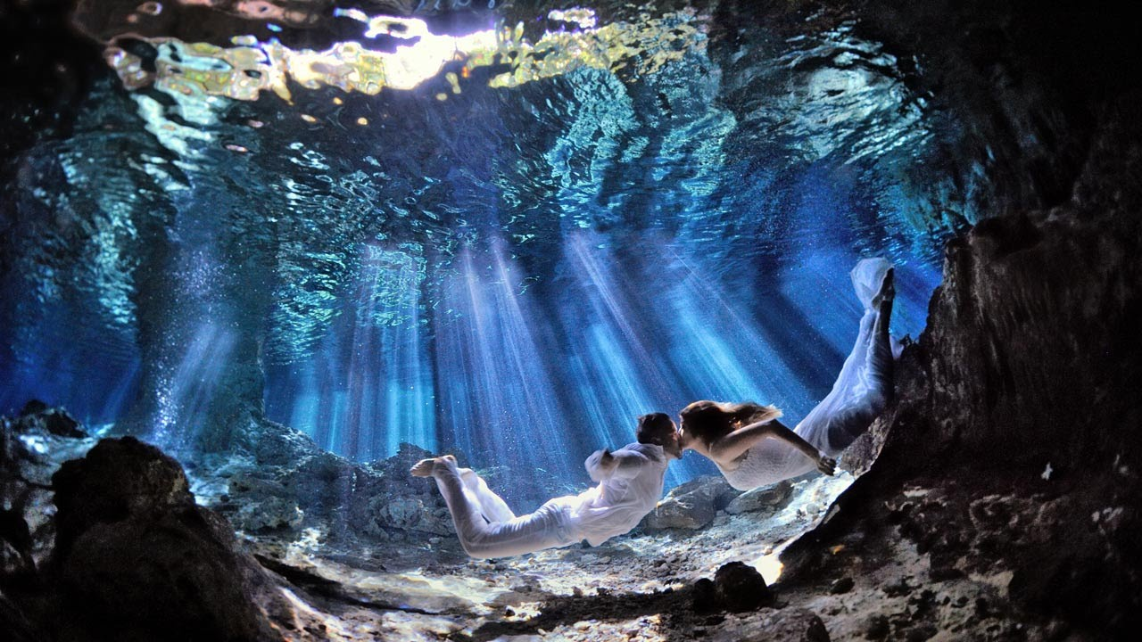 Underwater Trash The Dress In A Cenote With Their Baby