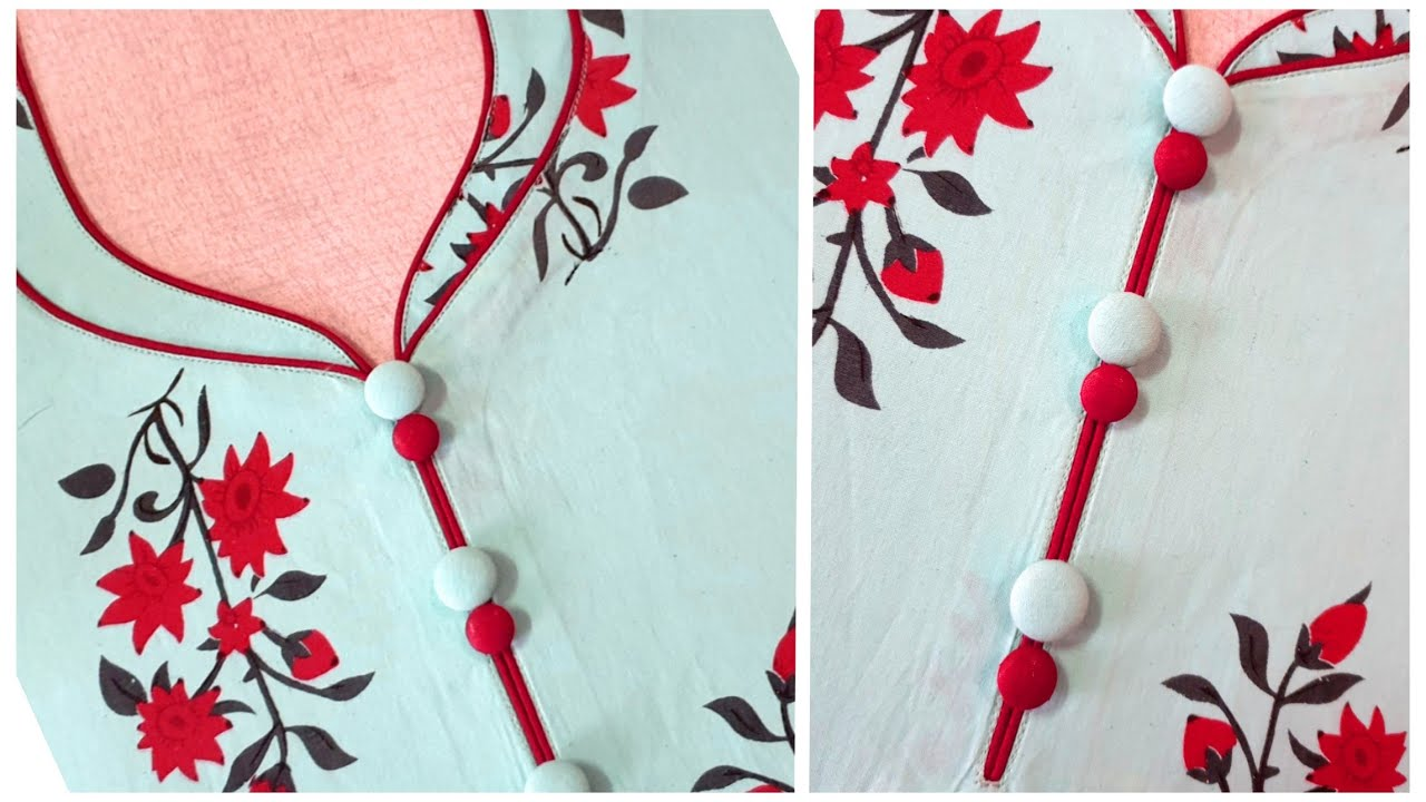Download Latest and Beautiful Piping Neck Design For Kurti/Suit Cutting and Stitching