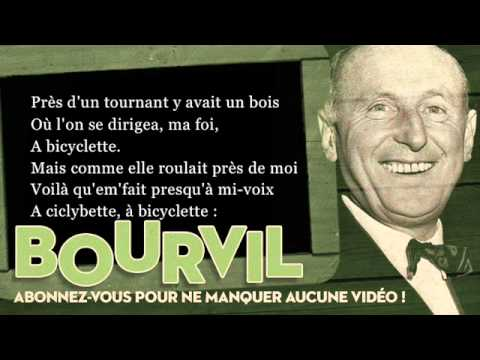 Bourvil - A bicyclette - Paroles (Lyrics)