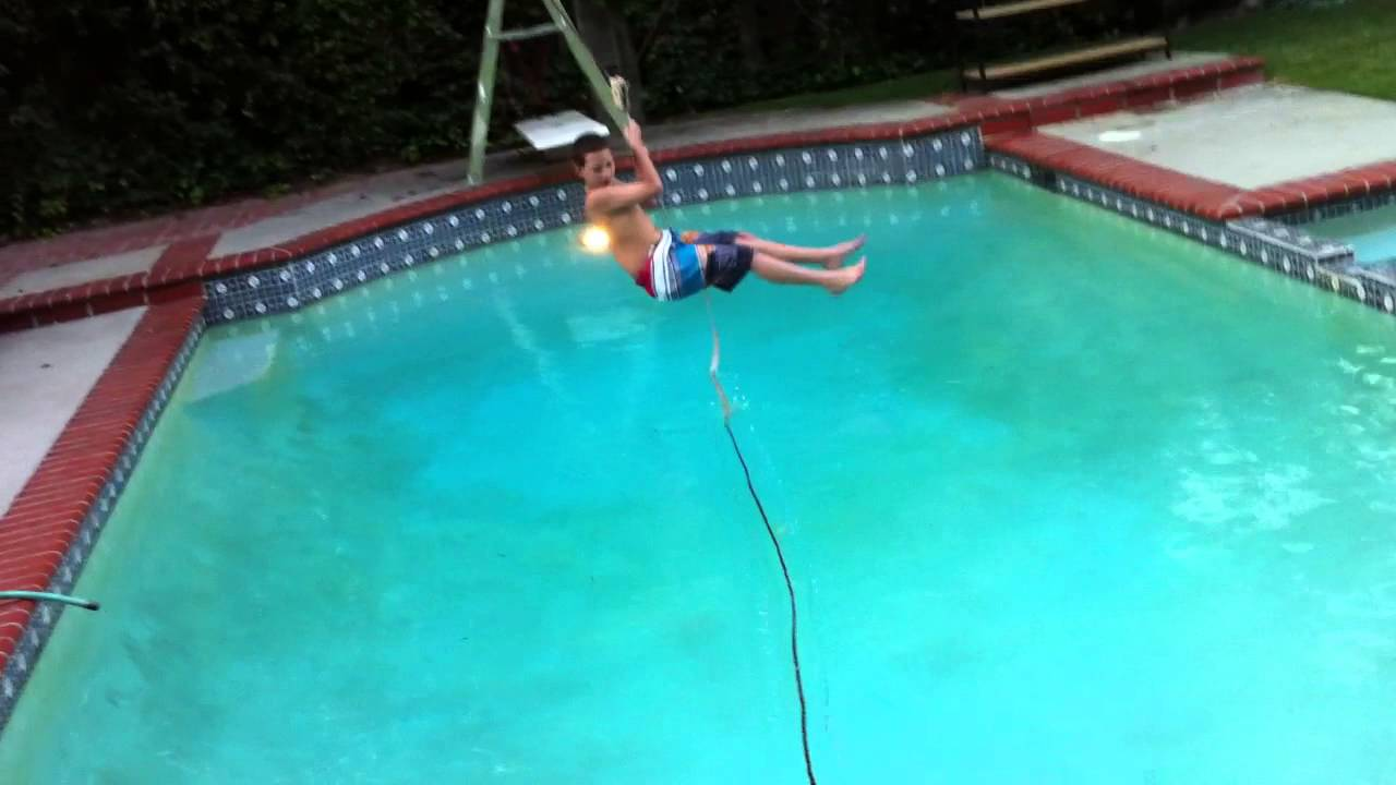 redneck zipline over pool youtube