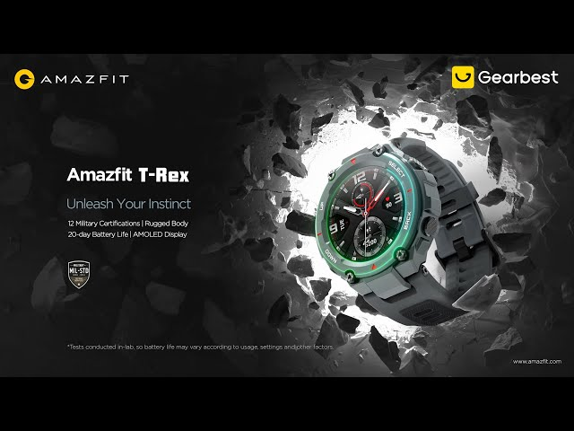 Amazfit T Rex Outdoor Smart Watch 1.3 inch AMOLED Color Screen 20 Days Battery Life 5 ATM Waterproof 14 Sports Modes 12 Military Certifications Dual