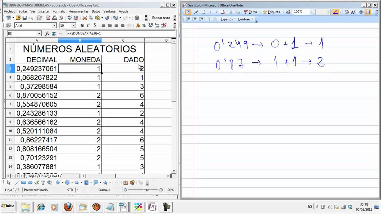 UD07S3 E3 Números aleatorios azar Hoja de cálculo Calc Informática ...