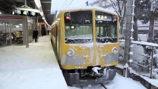 2014-02-14(金) 降雪の西武多摩湖線・萩山 新101系249F(夏) 251F(秋) 263F(黄)@Nikon COOLPIX P520