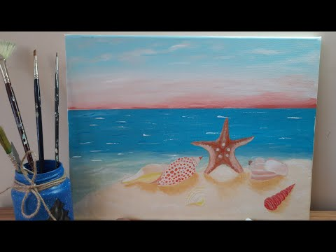 Starfish Acrylic Painting Easy Acrylic Painting For Beginners