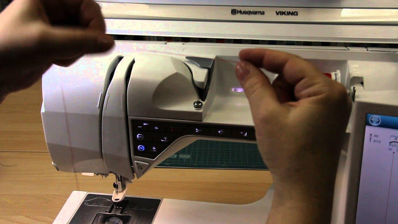 Заправка верхней нити в швейно-вышивальной машине Husqvarna