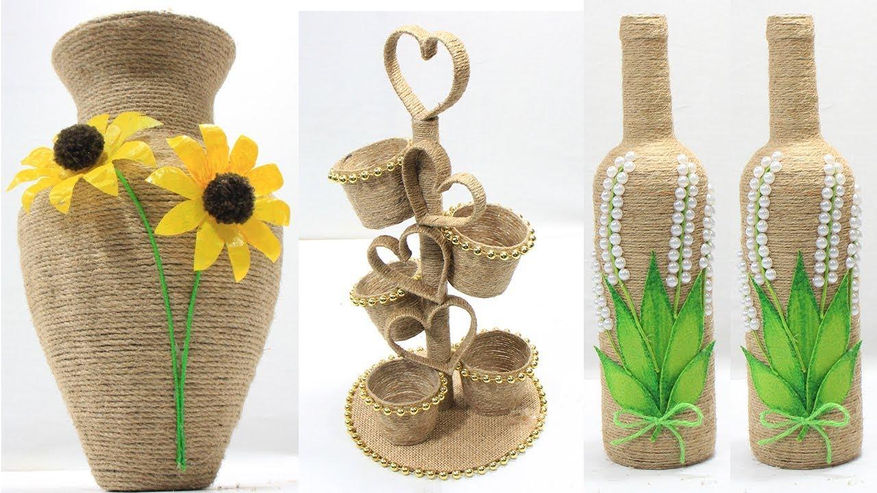5 Jute Craft Ideas Home Decorating Ideas Handmade Youtube