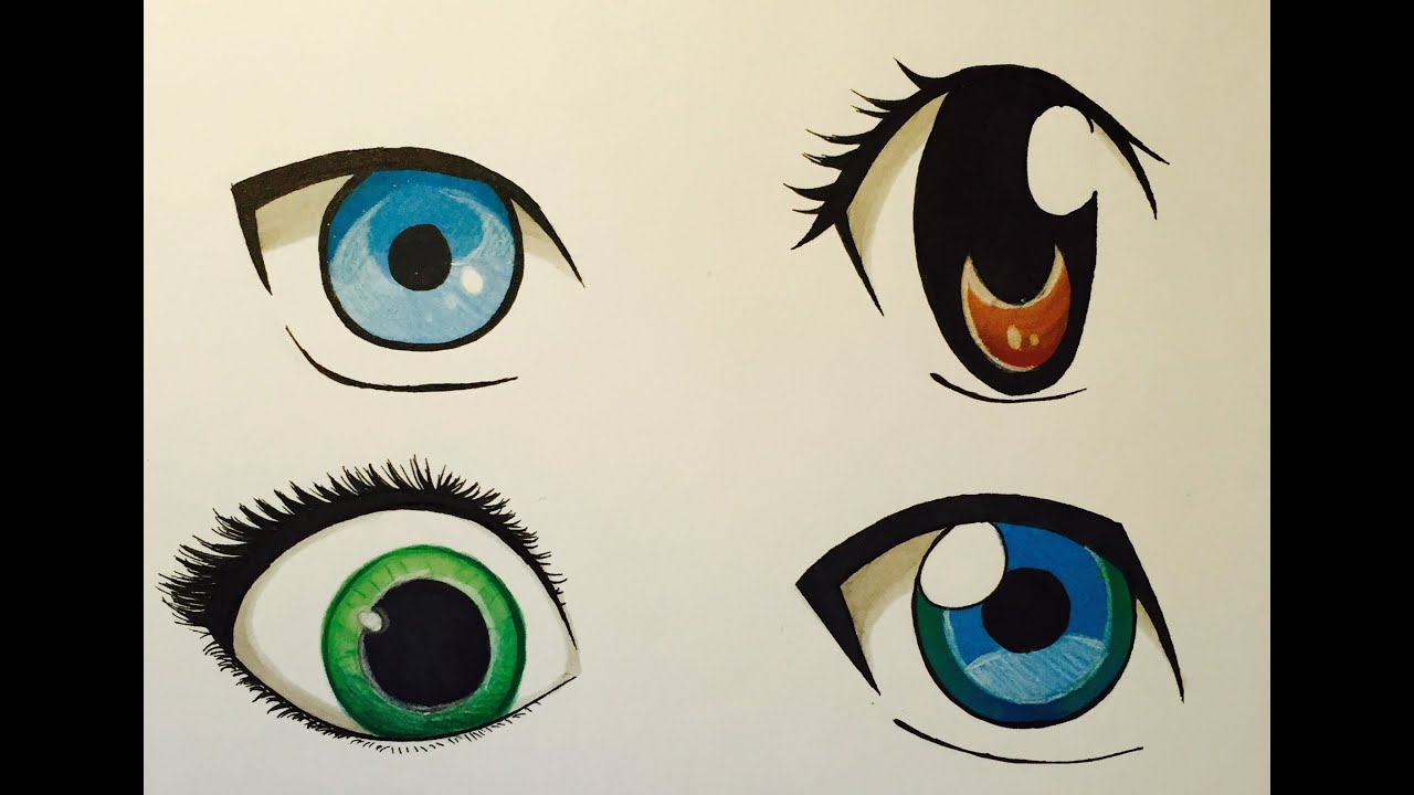 How to Draw Anime eyes - YouTube