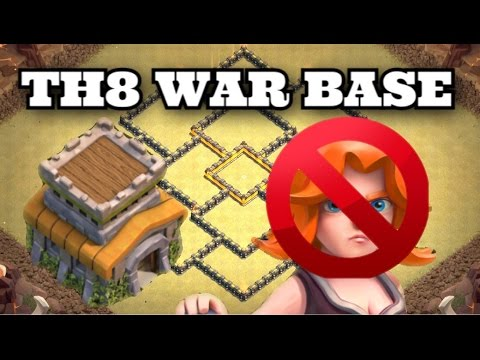 Clash of Clans - NEW TH8 war base FT. Bomb tower Anti 3 star ANTI (VALKS + DRAGON + GOHO + GOWIPE)