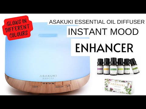 GIVE THE GIFT OF AROMATHERAPY | ASAKUKI PREMIUM ESSENTIAL OIL DIFFUSER WITH ESSENTIAL OILS