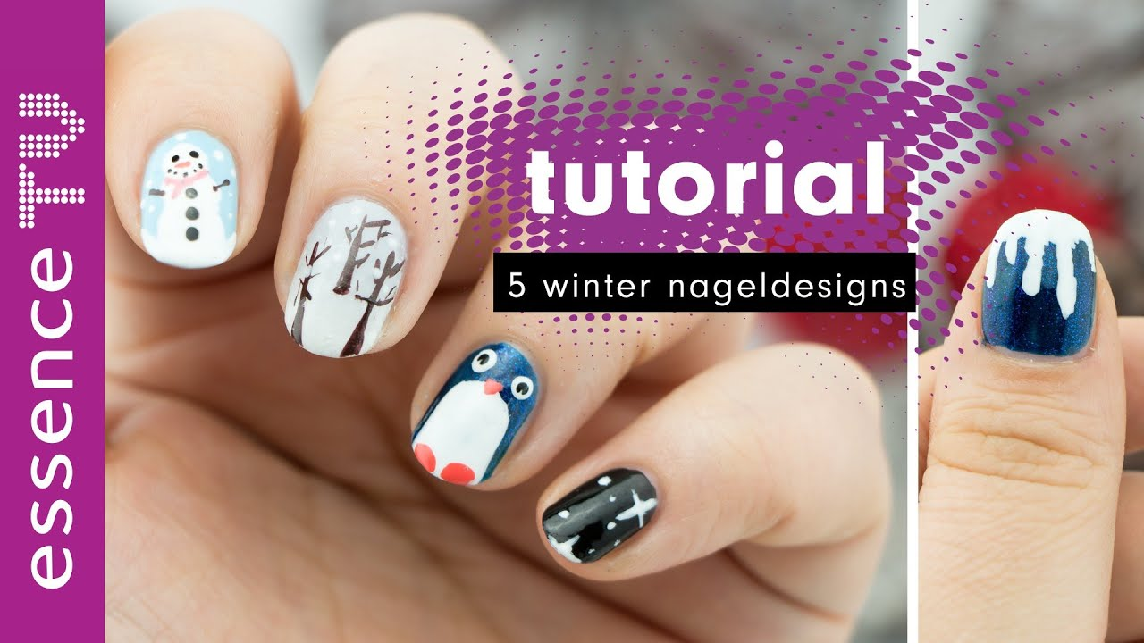 5 winter nagel designs - nail art tutorial deutsch für anfänger ...