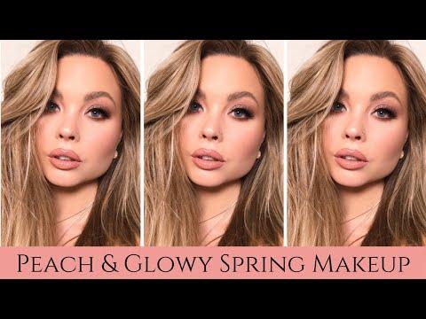 Spring Makeup Tutorial :PEACH & GLOWY MAKEUP Tutorial : Makeup for Square Face