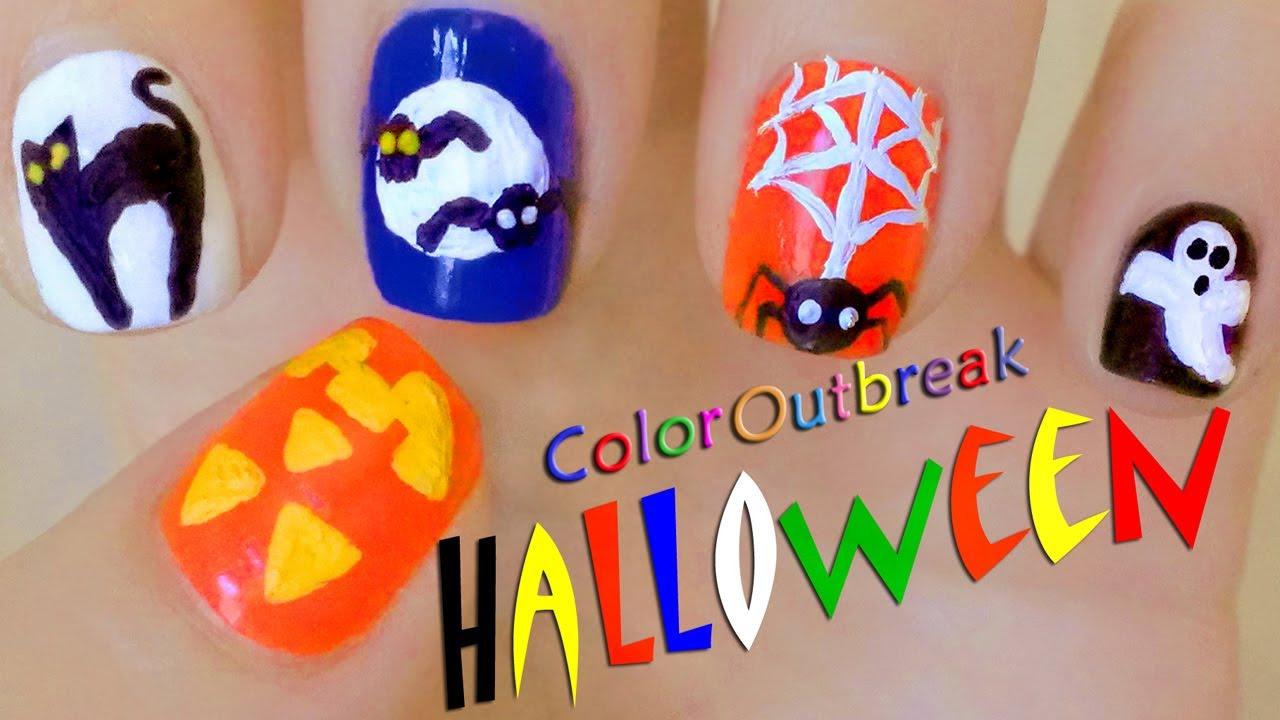 Halloween Nail Art Designs-Cute Pumpkin, Black Cat, Moon, Bats ...