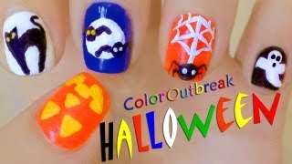 *`•.Halloween Nail Art Designs-Cute Pumpkin, Black Cat, Moon, Bats, Spider, Spider Web and Ghost*`•.
